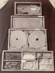 Buddhist sculpture fragments, nails and and hinges, from Rhode Tope, Sanghao, Peshawar District.
